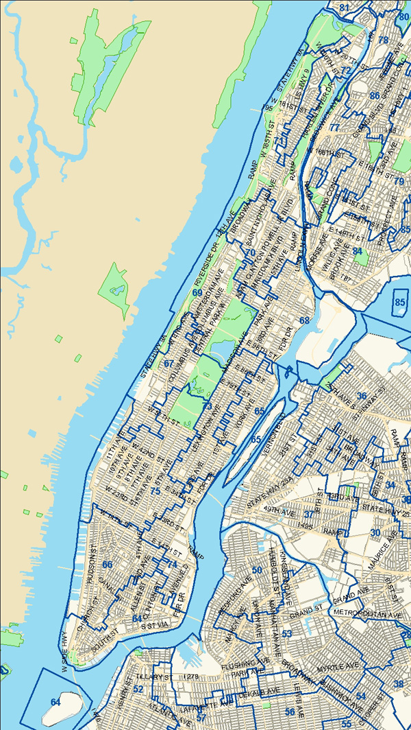 new york state assembly district map new york map