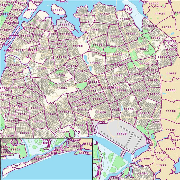 Zip Code Map Of Queens Ny Zip Code Map