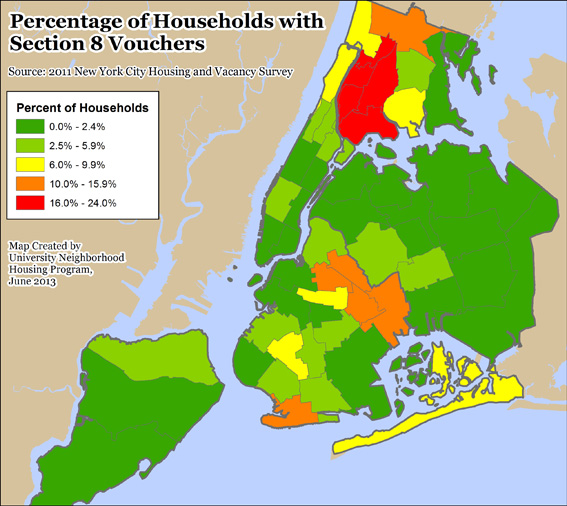 The west and south Bronx would be hit hard by cuts to Section 8. 24% of households in Community District 5 receive Section 8.