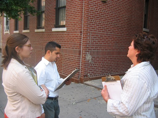 Angela and Andres surveying buildings in the Northwest Bronx