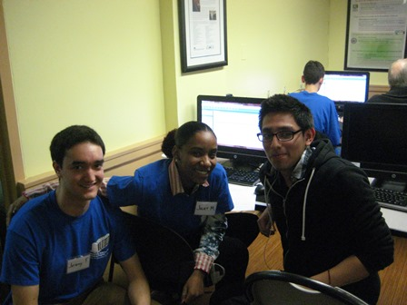 Tax client, Pedro, had a lot in common with fellow student volunteer, Jeremy, and student worker Juliet.