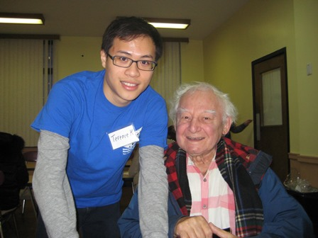 Volunteer Terance helped Joseph K. prepare his intake forms. Joseph worked for the Metropolitan Opera for 16,602 performances.