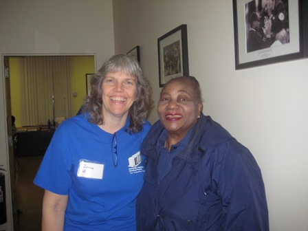 Olive, pictured with volunteer and fellow Bronxite Joanie, at UNHP's Free Tax Prep Program.