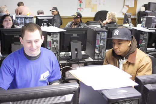 Josh filing taxes during UNHP Free Tax Preparation Program