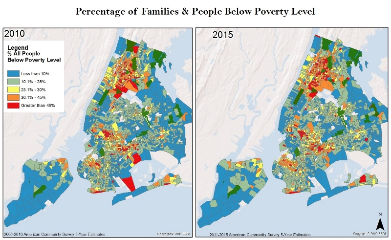Using information from the American Community Survey 5- year estimates,these maps demonstrate that the Bronx is home to the highest percentage of people living below the poverty level.