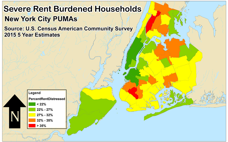 This Map Shows The Percentage Of Households Paying 50 Or More Of Household Income Towards Rent The Bronx Has The Highest Percentage Of Severely Rent