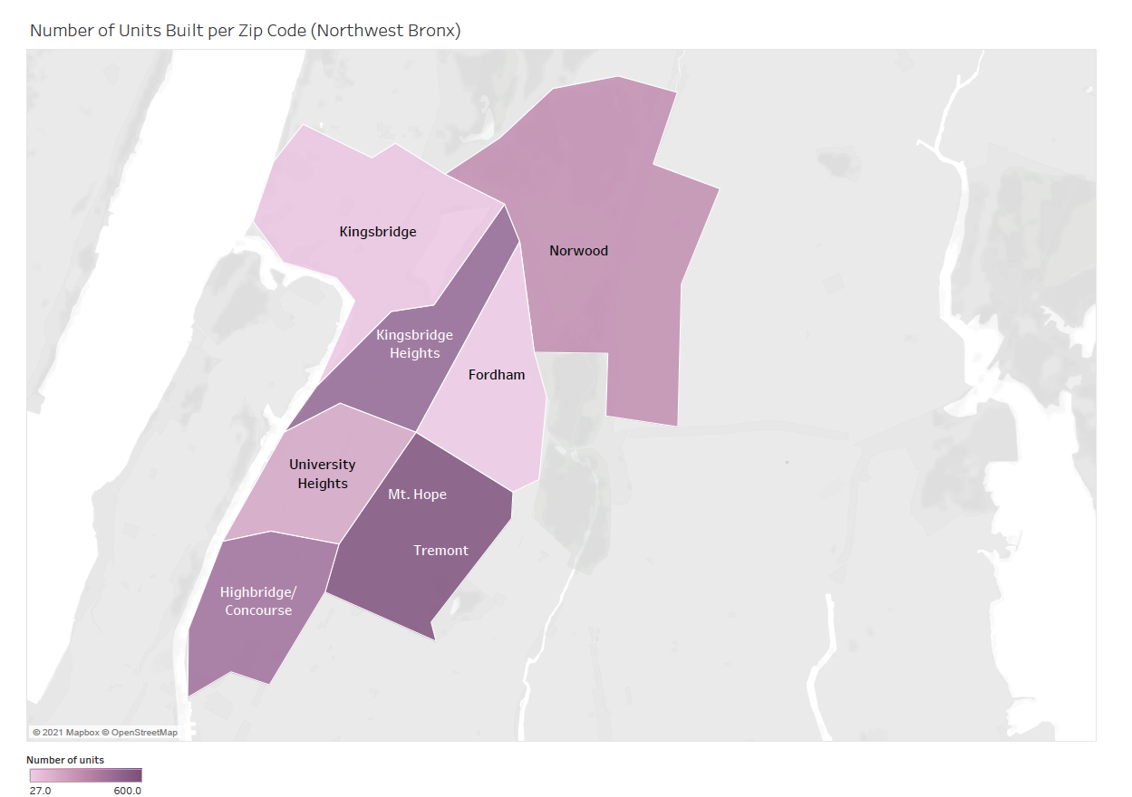 UNHP's Resource Center primarily serves community boards 5, 6, and 7 in the Northwest Bronx, as shown in the map. Out of all the neighborhoods in the area, Kingsbridge, Mt. Hope/Tremont, and Concourse/Highbridge had the most units available.