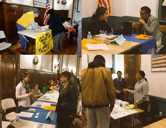 Pictured above, The Financial Clinic, POTS, NYC Tenant Services Unit and the NWBCCC representatives were among the 10 groups that answered questions and provided help to the attendees at the UNHP Tenants Housing Fair.