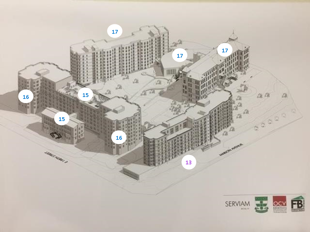 New affordable senior citizen housing and community space in-construction and mixed income rental housing for families planned at the Serviam.