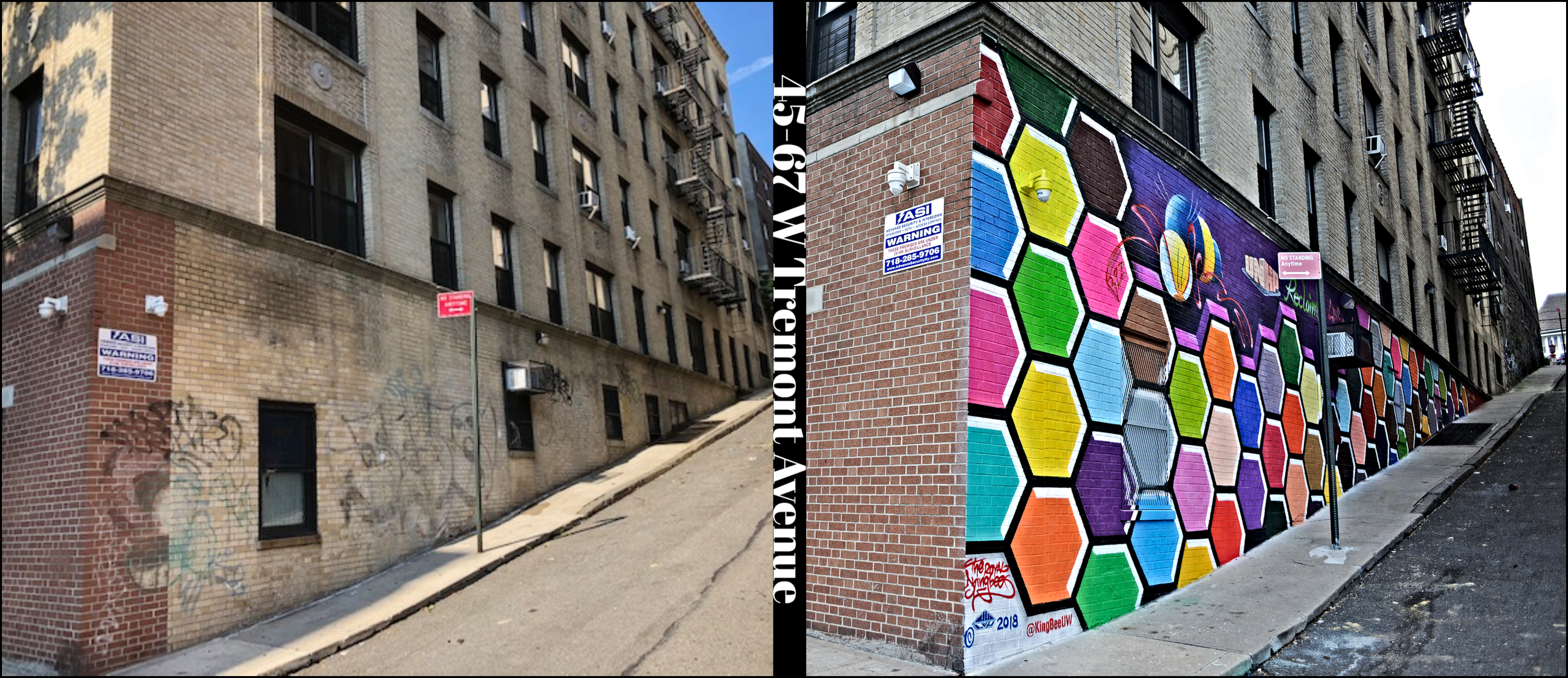 The wall on the corner of West tremont and kingsland place (before and after)