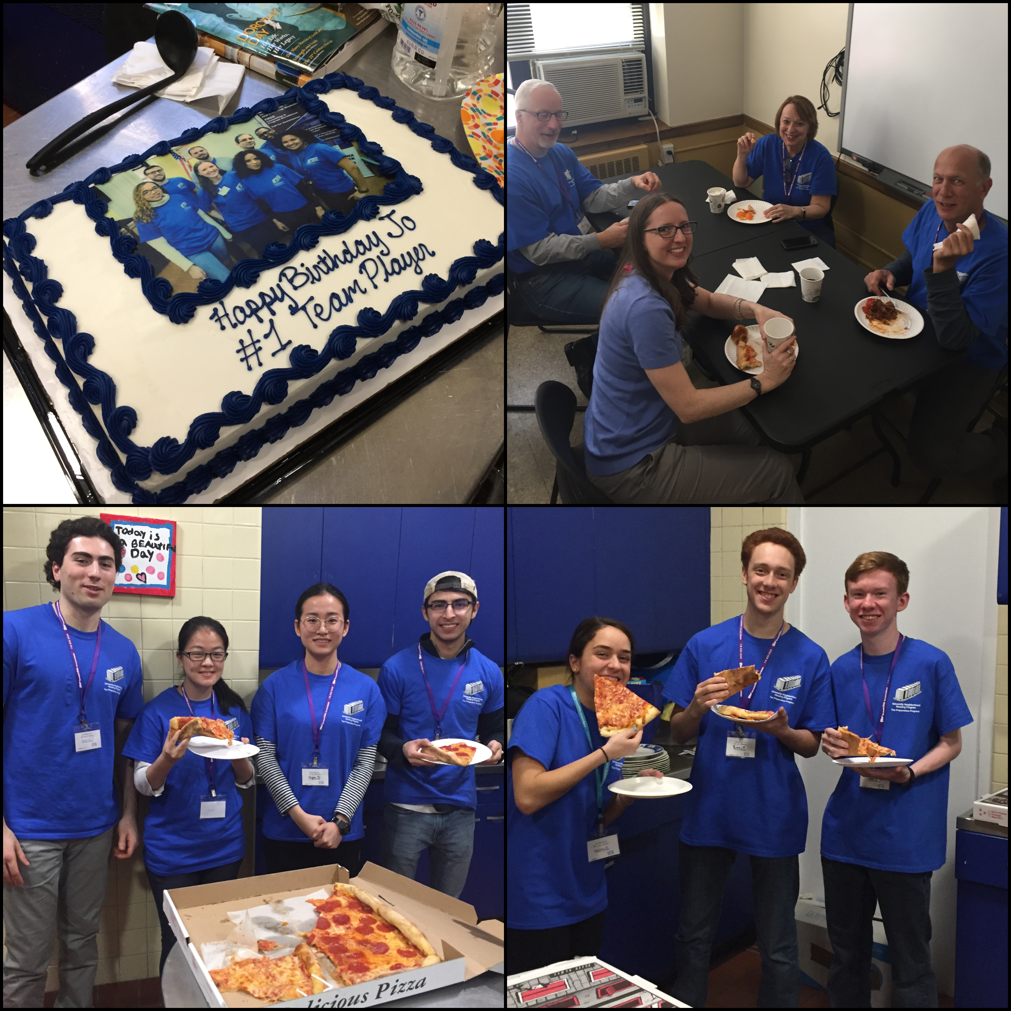 Volunteers work hard and deserve a lunch break! Pizza was a popular lunch menu item and an occasional cake for a special occasion.
