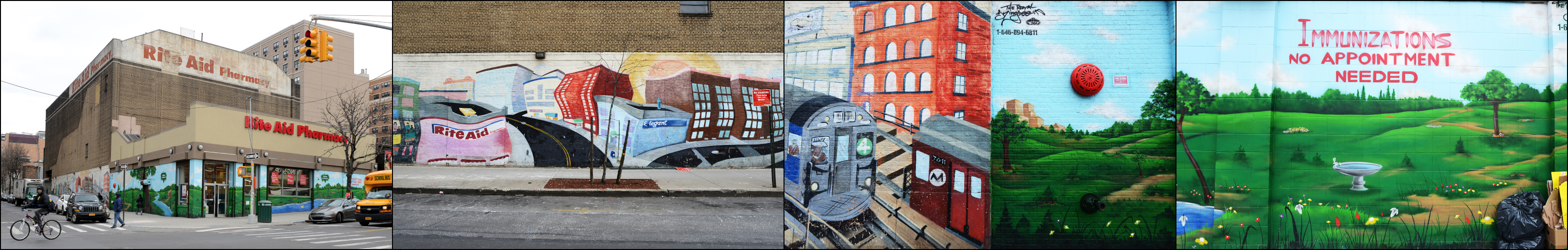 Some of the murals Royal KingBee created for Rite Aid in the Bronx.