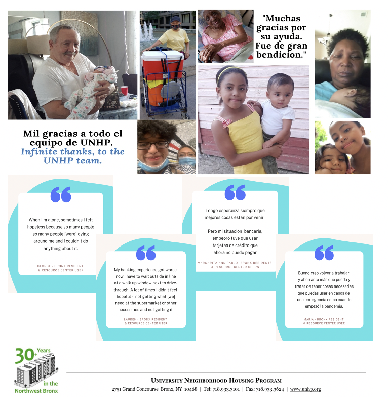 Thanks to partnerships with the bronx Relief Effort, Humanity Forwrd and Neighborhood Trust Financail partners, UNHP was able to provide small direct relif grants ranging from $25 to $1,000 to struggling families we serve.