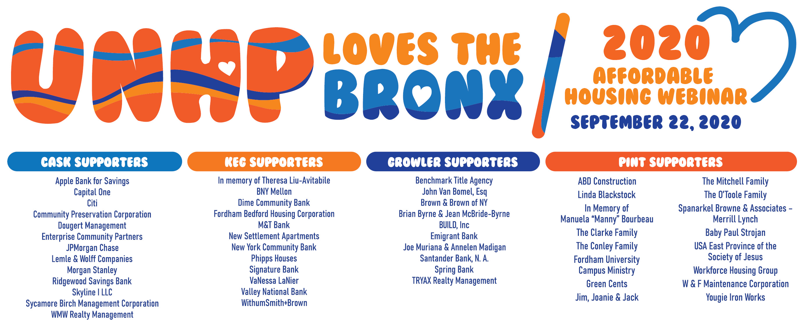 A BIG thank you to our generous sponsor!. Your support will help UNHP contiue with our work to create and preserve affordable housing and bring needed resources to our Bronx community. See the detailed larger print listing further down in this post.
