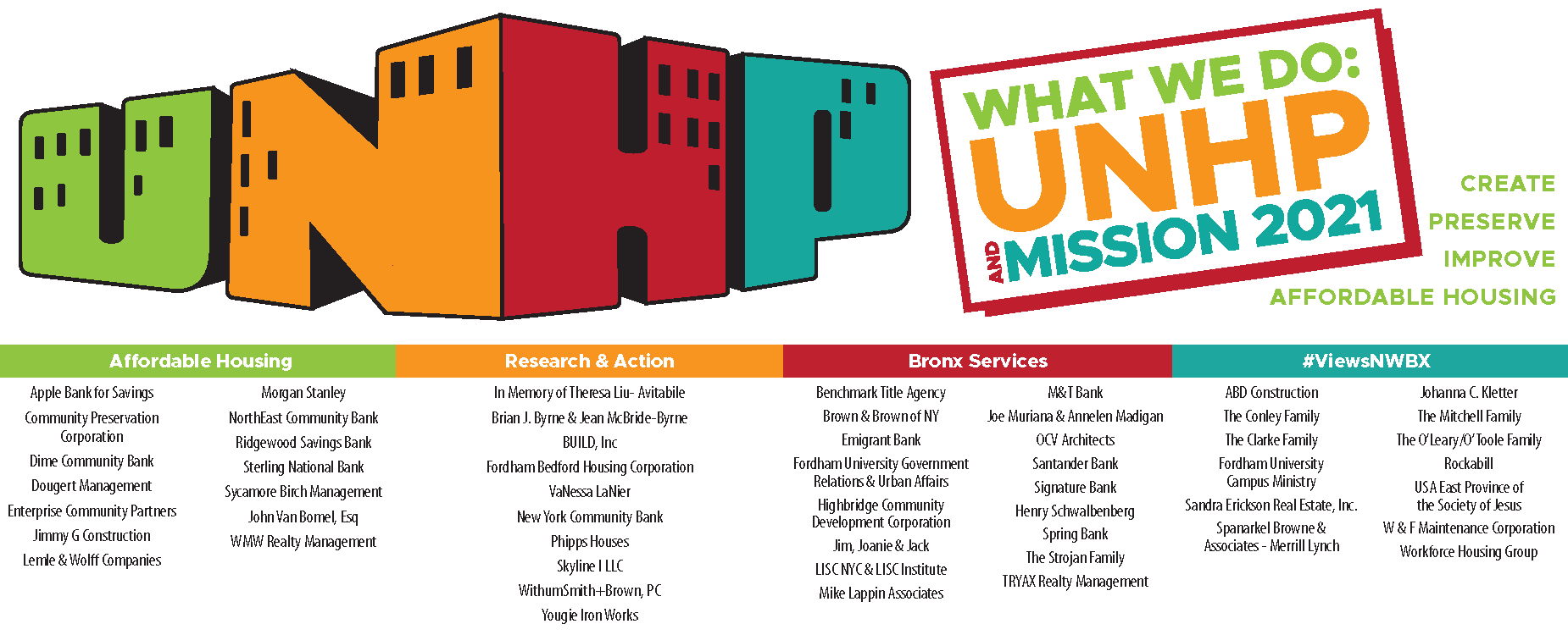 The Webinar was part of our What We Do event series and fundraiser. UNHP let attendees know that our work is supported by our funders, donors and sponsors. Donations are welcome!