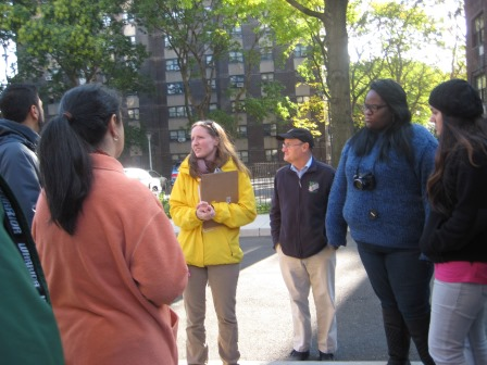 Johanna (in yellow), UNHP Financial Director, organized the Building Tour for staff and board.