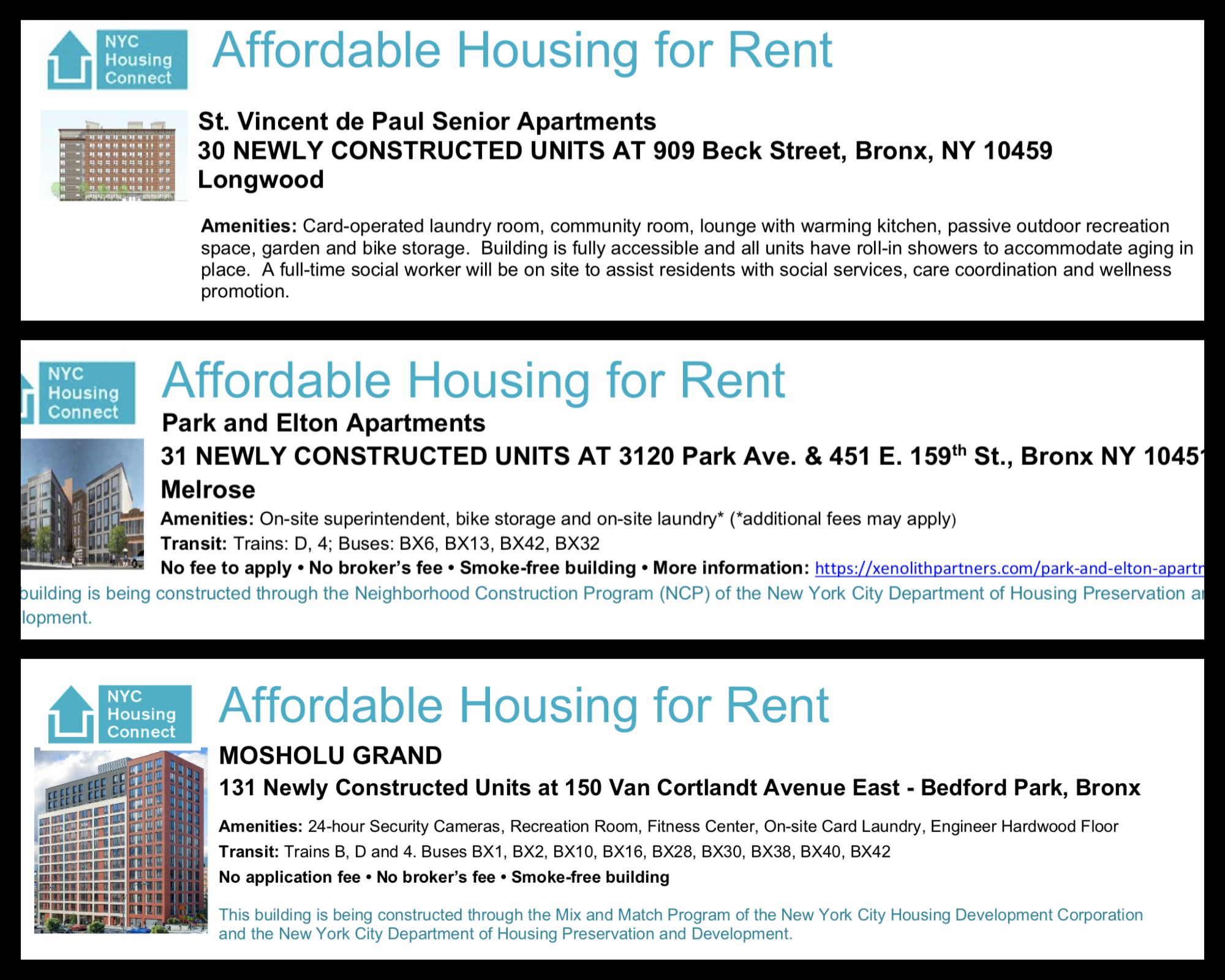These are three Housing Connect lotteries active as of April 2020. One is for senior citizens, another with a CB 7 preference and another with some affordable studios. Reach out to UNHP at (718) 933-2539 for infrmation about the NYC affordablehousing lottery.