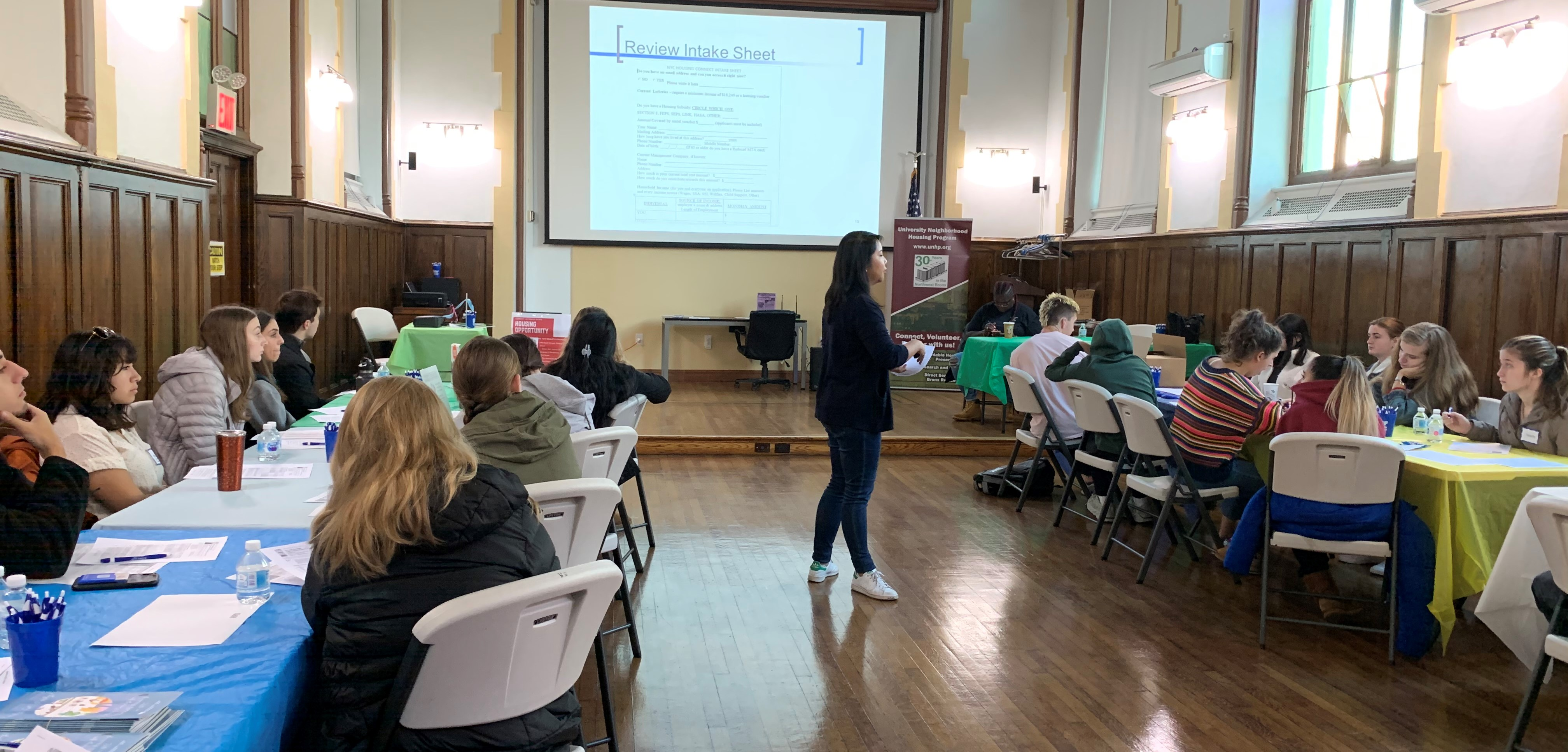 Anna Margarita trained our student volunteers at our Bronxtober Fest Resource fair. Volunteers helped Bronx resdeints enroll in Housing Connect.