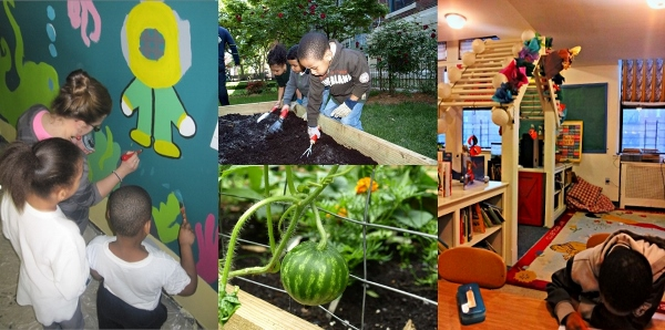 Concourse House emphasizes stability and healthy independent living. Each family is offered programs and activities directed toward goal setting and developing a sense of personal responsibility. Pictured above, children participate in a gardening program in the yard, watermelons are ripening on the vine, children painting a beautification mural and the newly renovated (with private donations) after-school room for Concourse House kids.