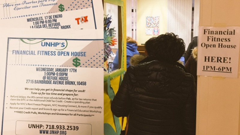 On-the-spot free financial and affordable housing services in English and Espanol were available at UNHP's Financial Fitness Open House. Over 40 attendees accessed a range of services from making a tax appointment to freezing their rent at the Northwest Bronx Resource Center located in Refuge House.
