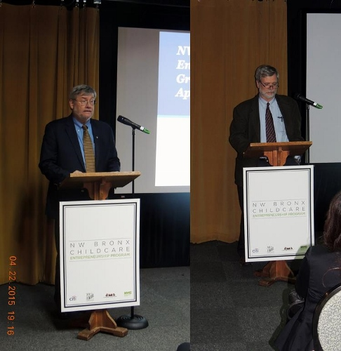 John M. Reilly ( left), Executive Director Fordham Bedford Housing Corporation(FBHC) welcomed the graduates and applauded their efforts. Jim Buckley, Executive Director UNHP, acknowledged the value of working as a part of a community team.