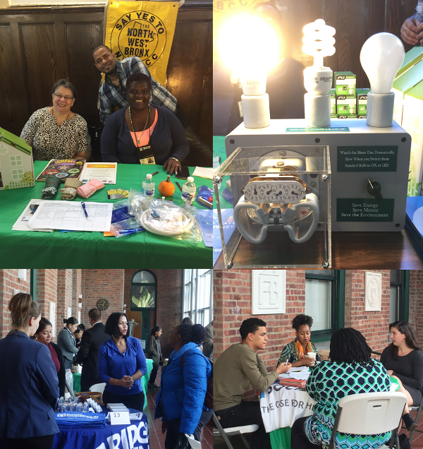 There were many opportunities for Bronx homeowners at the Bronxtober Resource Fest. The NWBCCC Weatherization Project screened homeowners for energy surveys and low-cost NYS-supported weatherization renovations. They demonstrated the savings that using LED light bulbs could make in a home and had energy saving light bulbs and home kits to give away. Legal Services offers assistance to Bronx homeowners at the NWBRC once a month and helped homeowner at the fair deal with mortgage and lien debts issues. Four local banks were also on hand to share product information with renters, homeowners and interested home-buyers.