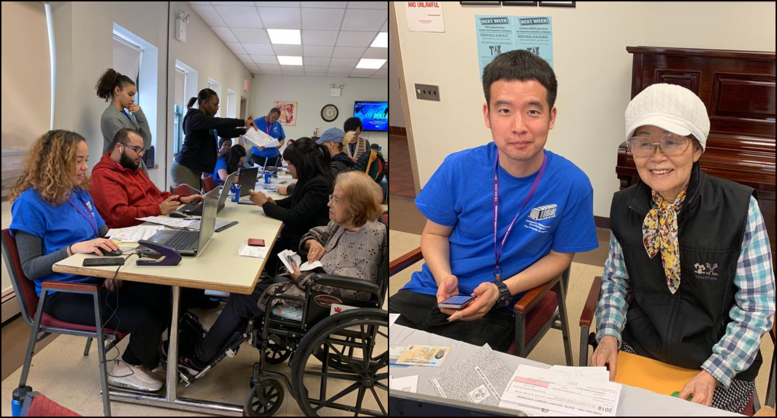UNHP's Free Tax Program provided on-site tax prep services at three low-income senior citizens residences; UNHP's Rose Hill Apartments and Fordham Bedford Housing Corporation's Serviam Campus and Edison Arms. Former UNHP intern, Michael, (pictured right) volunteered with us to assist Korean- speaking seniors.고맙습니다