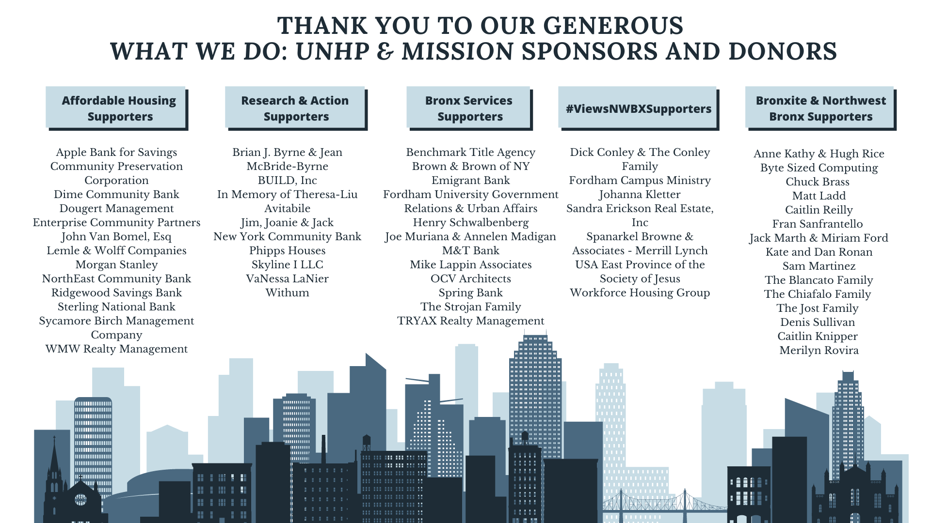 Join our growing list of sponsors and donors! www.unhp.org/donate